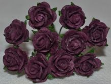 1 cm TYRIAN PURPLE Mulberry Paper Roses